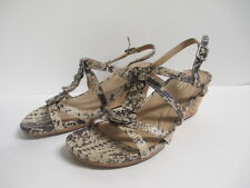 Naturalizer Sudi Wedge Sandal Cream Snake Brown Synthetic New in Box