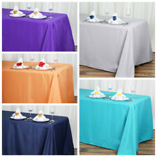 "5 pcs 90""x132"" Polyester Tablecloth Wedding Party Table Linens go to the floor"