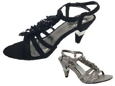 Ladies Shoe No Shoes Nancy Strappy Beaded Black or Grey Heels New Size 5-10