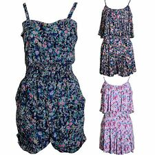 Ladies Strappy Chiffon Tailored Floral Zip Back Stretch Waist Women's Playsuit