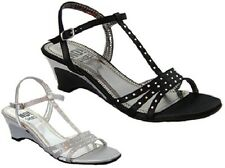 Ladies Shoe No Shoes Marcy Strappy Wedges Black or Silver SatinNew Size 5-10