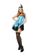 Ladies Sexy Blue Burlesque Western Cowboy Saloon Girl Fancy Dress Costume Outfit