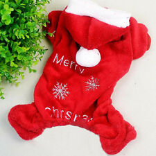 Merry Christmas Warm Soft Fleece Pet Dog Clothes Hoodie Jumpsuit Coat Apparel