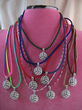 Rhinestone Volleyball Pendant Necklace - Velvet Cord Leather Blue Pink Red Green