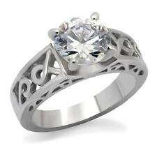 Stainless Steel Round Solitaire CZ Wedding Engagement Celtic Women's Ring