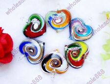 Murano Lampwork Glass Heart Love Pendants Eye Inside Necklace Bead Fit GF Gifts