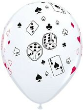 "5-20pc 11"" Cards & Dice Print Latex Balloons Happy Birthday Game Night Casino"
