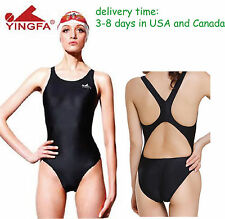 NWT Yingfa one piece racing and training swimsuit Black 938 for women & girls
