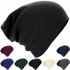 Mens Ladies Knitted Woolly Winter Oversized Slouch Beanie Hat Cap Slouchy NEW