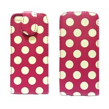 POLKA DOT STYLE LEATHER FLIP POUCH CASE COVER IN HOT PINK FOR APPLE IPHONE 5