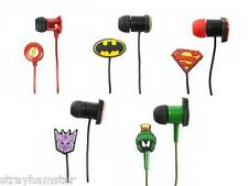 SUPERHERO Headphones Rubber Ear buds LICENSED Batman Superman Flash Transformers