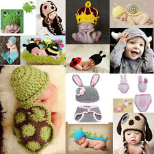 Baby Infant Wool Crochet Knit Aminal Beanie Hat Outfits Set Photograph Props Cap