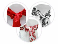 10 pcs Damask Flocking CHAIR SASHES Bow Ties Wedding Party Decorations Supplies