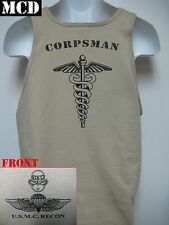 USMC RECON TANK TOP/ MCD/ NAVY CORPSMAN/ RECON CORPSMAN/ MILITARY T- SHIRT