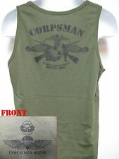 USMC FORCE RECON TANK TOP/ OD/ NAVY CORPSMAN FMF/ MARINES T-SHIRT/ MILITARY/ NEW
