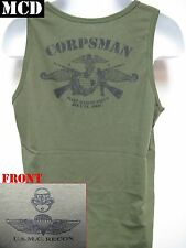 USMC RECON TANK TOP/ OD/ MCD/ NAVY CORPSMAN FMF/ MARINES T-SHIRT/ MILITARY/ NEW