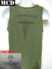 USMC RECON TANK TOP/ OD/ MCD/ NAVY CORPSMAN/ MARINES T-SHIRT/ MILITARY/ NEW