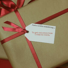 JUST A LITTLE SOMETHING.... FUNNY/JOKE CHRISTMAS GIFT TAGS - WHITE
