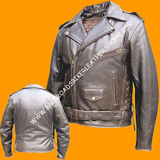 Mens Retro Brown Leather Biker Motorcycle Jacket Coat old school style