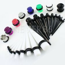 28 Pc Ear Taper+ PLUG Kit 16G-00G 1.3mm-10mm Gauges Expander Set Stretchers