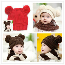 Top Warm Winter Sweet Unisex Baby Kid Dual Ball Toddler Knit Beanie Cap Hat 0026