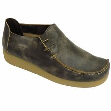 RUBBED BROWN LEATHER LACE-UP FLAT WALLABY CASUAL LOAFER COMFORT SHOES SIZE 3-8