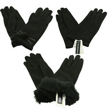 Ladies SOFT LUXURIOUS FLEECED LINED COTTON GLOVES - Rose Bow Faux Fur Black