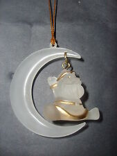 6 x Santa & Moon clear frosted & gold xmas tree hanging decoration, NEW Kleeneze