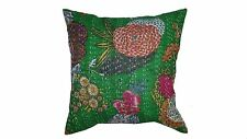 A Kantha Indian pillow cover 16x16 inches Simple and Stylish Blue / green