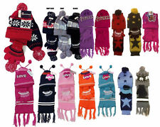 Toddler kids 3 PCS  Knit Beanie Hat Scarf Gloves Gift Set - 2 T to 4 T