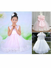 Princess Flower Girls Babies Wedding Pageant Party Bridesmaids Bow Skirts Dress
