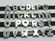 "20 Alloy Letter Beads Slide Charm ""A-Z""Fit 8mm Wristbands Pick Your Letter"