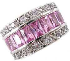 Gorgeous 8.8 Carat Simulated Pink Sapphire Eternity Band Ring Size 5,6,7,8,9,10