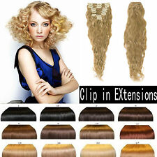 "Curly Wavy Clip in Human Hair Extensions Full Head ,100g 12""14""16""20""22""24"""