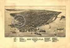1884 LARGE PANORAMIC BIRD'S EYE MAP KEY WEST FLORIDA