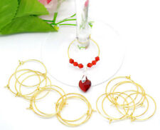 Wholesale Lots Gold Plated Wine Glass Charm Rings/Earring Hoops 29mmx25mm