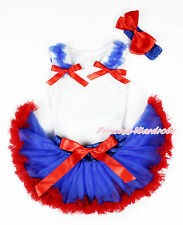Royal Blue Ruffle Red Bow White Top Royal Blue Red Newborn Baby Pettiskirt 3-12M