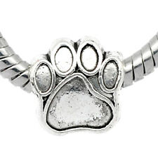 Wholesale Lots Silver Tone Dog's Paw Beads Fit Charm Bracelet 11mmx11mm
