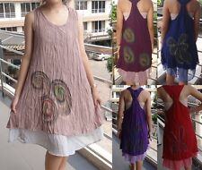 Cotton Layered Hippy Bohemian Chic Indie Boho Short Sun Summer Dress Blouse Top