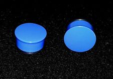 "New & Hot Acrylic Single Flared Solid Neon Blue Plugs. Sizes ( 6 g -- 1"" inch )"