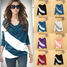 Womens Draped Neck Top Loose Casual Shirt Color Block Long Sleeve Blouse