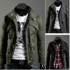Men's Military Slim Fit Jacket Top Designed Rider Zip Button Trench Coat 6 SIZES