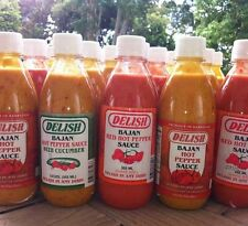Delish RED HOT PEPPER SAUCE, HOT PEPPER SAUCE WITH CUCUMBER.. 100% Bajan