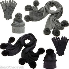 Pia Rossini Ladies Wooly Winter Hats Gloves And Scarves Grey Blue Set Long Scarf