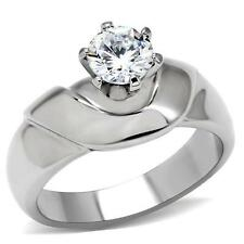 Women's Stainless Steel Round Raised Solitaire cz  Promise  Engagement Ring