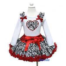 Valentine's Day Red Damask Pettiskirt Tutu Heart White Tee Shirt Party Dress 1-7