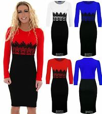 Ladies Celeb Long Sleeve Contrast Lace Women's Midi Bodycon Pencil Party Dress