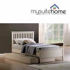 Venice Brand New Matt White Finish Solid Rubber Wood Bed Frame Trundle Option