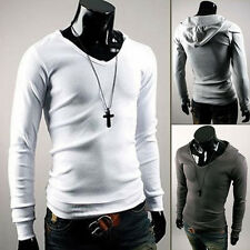 Men New Long Sleeve Hoodie Solid Fitted Fashion Korean Hooded T-shirt Tops S-XL