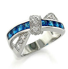 1Ct. Sapphire Cubic Zirconia Princess Eternity Ring, Rhodium Plated